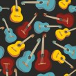 Stock Vector: Seamless pattern isolated guitars