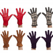 Four pairs of diffrent women`s gloves — Stock Photo