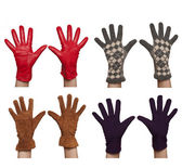 Four pairs of diffrent women`s gloves — Fotografia Stock
