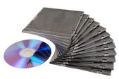 Beautiful stack of disk cases and disk — Stock Photo