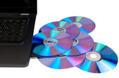 Laptop with many disks — Foto Stock