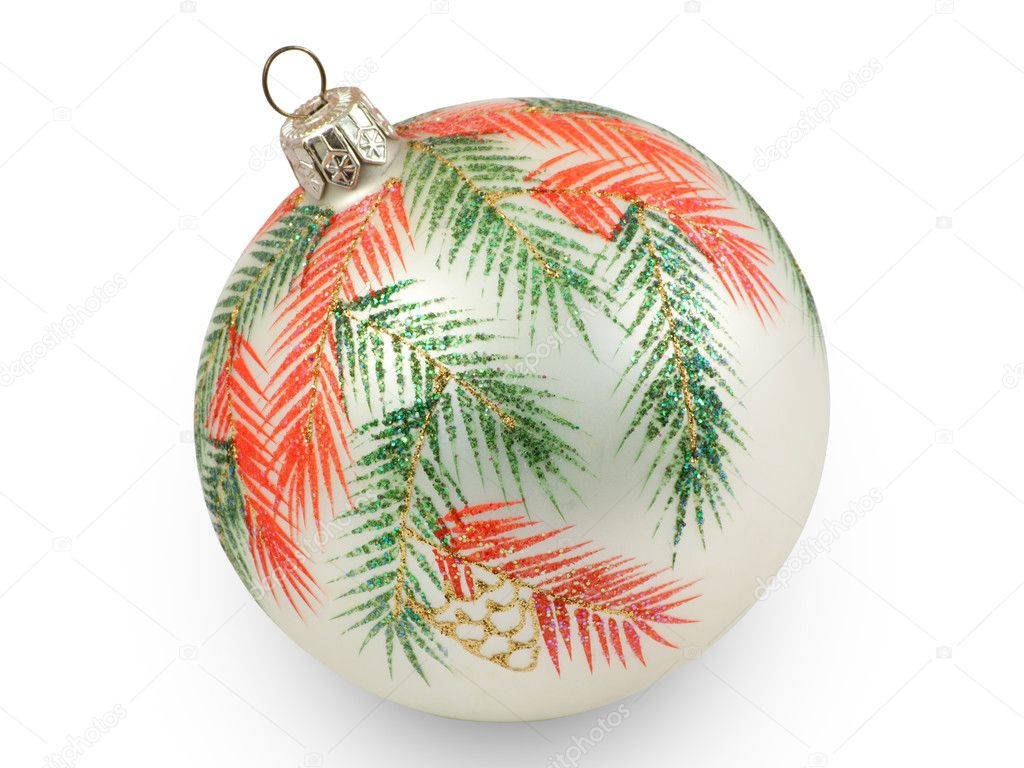 Christmas ball with branches. Isolated on white background with clipping path. — Stock Photo #4602291