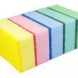 Five multi-colored kitchen sponges — Stock Photo