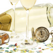Two glasses with champagne, old pocket watch, cork and confetti in front of — Stockfoto