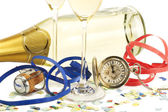 Two glasses with champagne, old pocket watch, streamer, cork and confetti i — Stock Photo