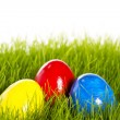 Stock Photo: Three easter eggs with soft focus in grass