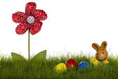 Pequeño conejito de pascua con huevos de pascua y flor de cortinas en pasto — Foto de Stock