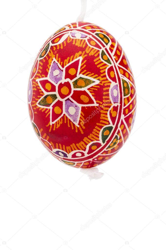 红色吊手绘复活节彩蛋