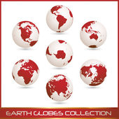 Earth globes colection, white - red — Stock Vector