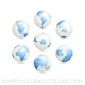 Earth globes colection, white - blue — Stock Vector