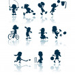 Stock Vector: Kids sports silhouettes