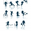 Stockvektor : Kids sports silhouettes