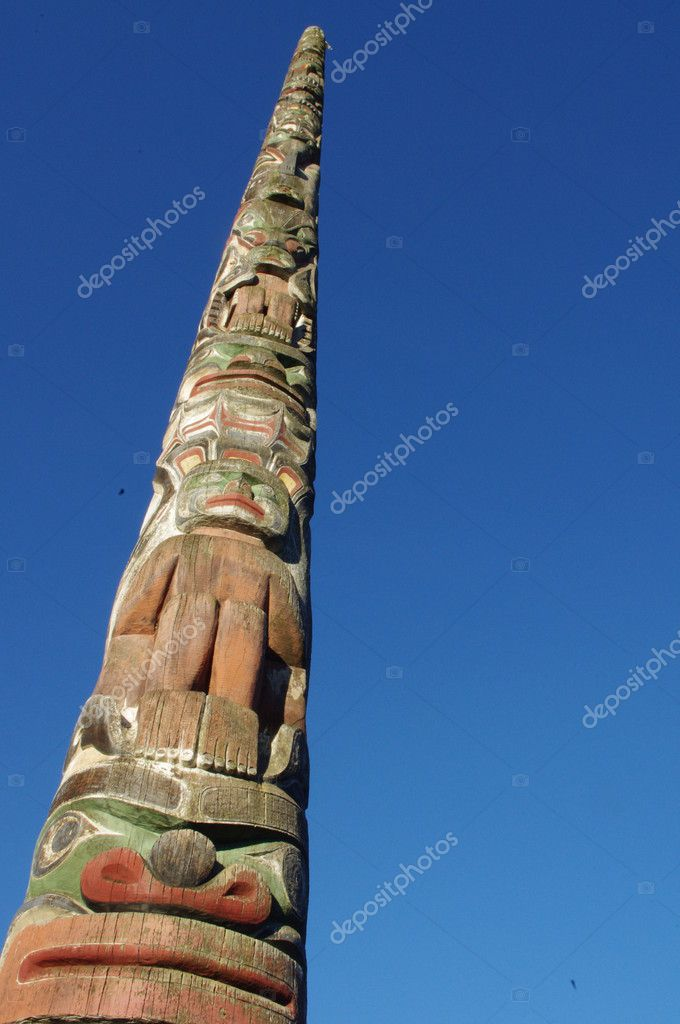 Aboriginal totem pole of Coast Salish nations in Vancouver, British Columbia, Canada  Stock Photo #5361547