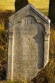 Detalhe do túmulo no cemitério judaico, esquecido e mal cuidado, com os estranhos — Foto Stock