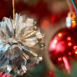 Closeup detail of Christmas decoration on tree — Stock Photo