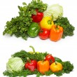 Stock Photo: Different fresh tasty vegetables isolated on white.