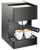 Espresso machine pouring espresso into the cups isolated on whit — Stock Photo