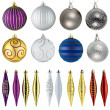 Foto Stock: Set of christmas balls isolated on white background