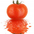 Stock Photo: Fresh tomato with drops and refletion on water smooth surface