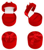 Set of Red Gift Velvet Boxes For Jewelry. — Stock Photo