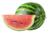Studio shot of a flawless whole watermelon isolated on pure whit — Stock Photo