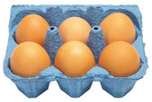 A carton of six eggs — Stock Photo