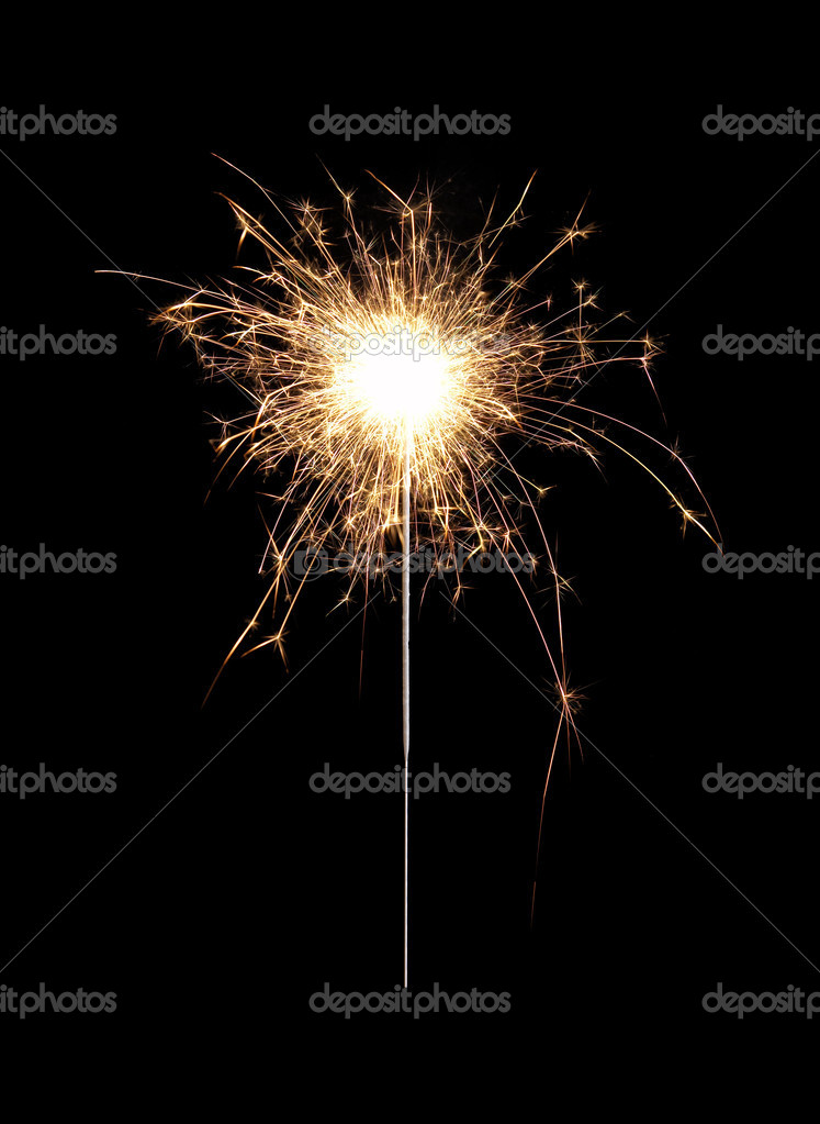 Burning christmas sparkler isolated on black background. Bengal fire — Stock Photo #4618633