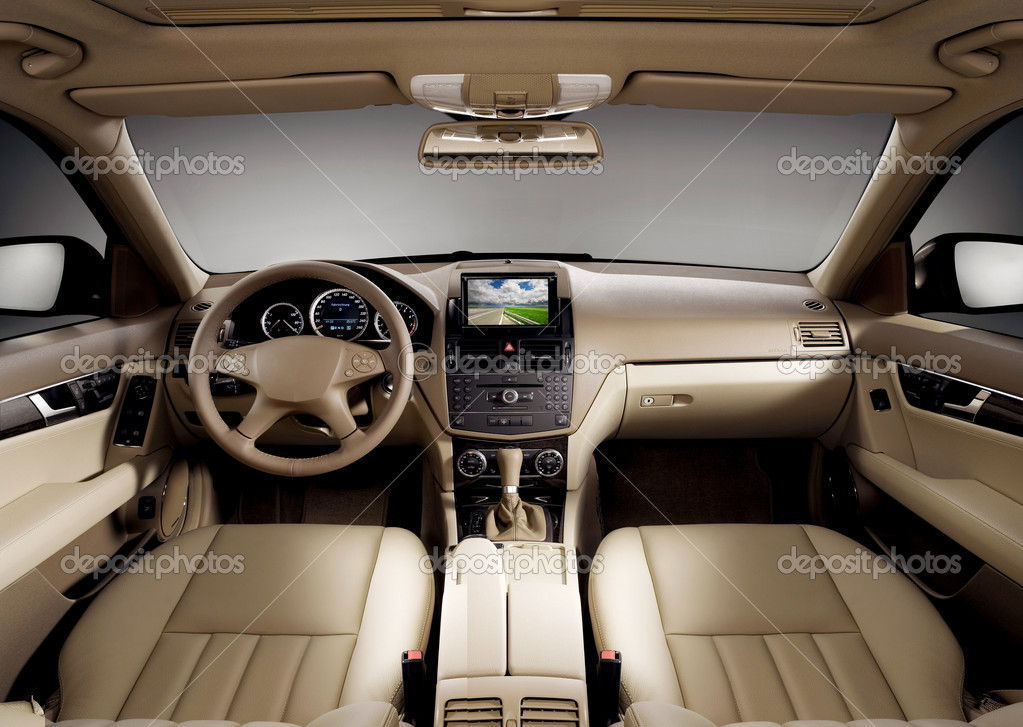 View of the interior of a modern business car showing the dashboard — Stock Photo #4618643