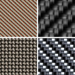 Set of various types of Carbon fiber textures. 3d vector — Stock Photo #4841786