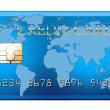 世界地图-孤立在与 clippin 的白色与蓝色信用卡 — 图库照片