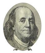 美元的细节,密切了富兰克林的脸上 — 图库照片