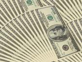 Fondo con billetes de dinero americano cien — Foto de Stock