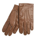 Brown leather gloves isolated on the white background — Stockfoto