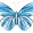 Stock Photo: Created from water splash. Art blue butterfly isolated on white