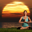 Yogi sunrise - Stock Photo