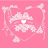 Pink card with heart — Vector de stock