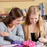 Two schoolgirls in class — Stock Photo