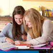 Two girls in the classroom — Stock Photo