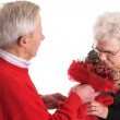 Happy senior couple celebrating valentines Day — Stock Photo #4104851
