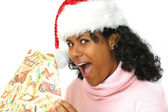 Holding her presents — Stock Photo