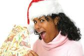 Drží ji dárky — Stock fotografie