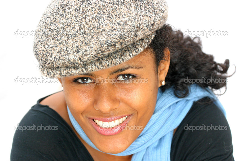 Beautiful brazilian girl with hat and scarf