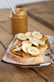 Peanut butter and banana sandwich — Stock Photo