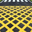 Stock Photo: Yellow cross line and zebrsymbol