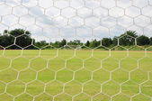 Behind Football goal — Stock Photo