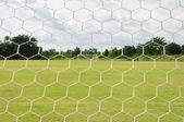 Behind Football goal — Stock Photo
