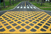 Yellow cross line area on the road surface — Stock Photo
