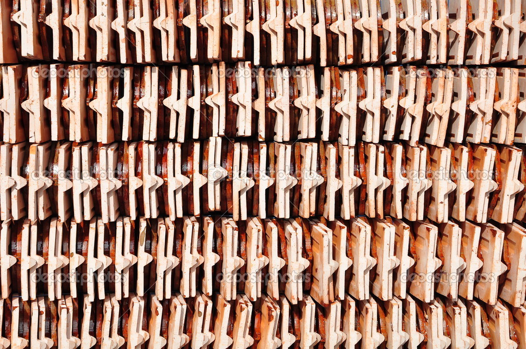Roof tile in side view background  Stock Photo #4171533