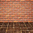 Brickwall and old stone floor pattern — Stock Photo