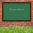Stock Photo: Black board school and brickwall pattern